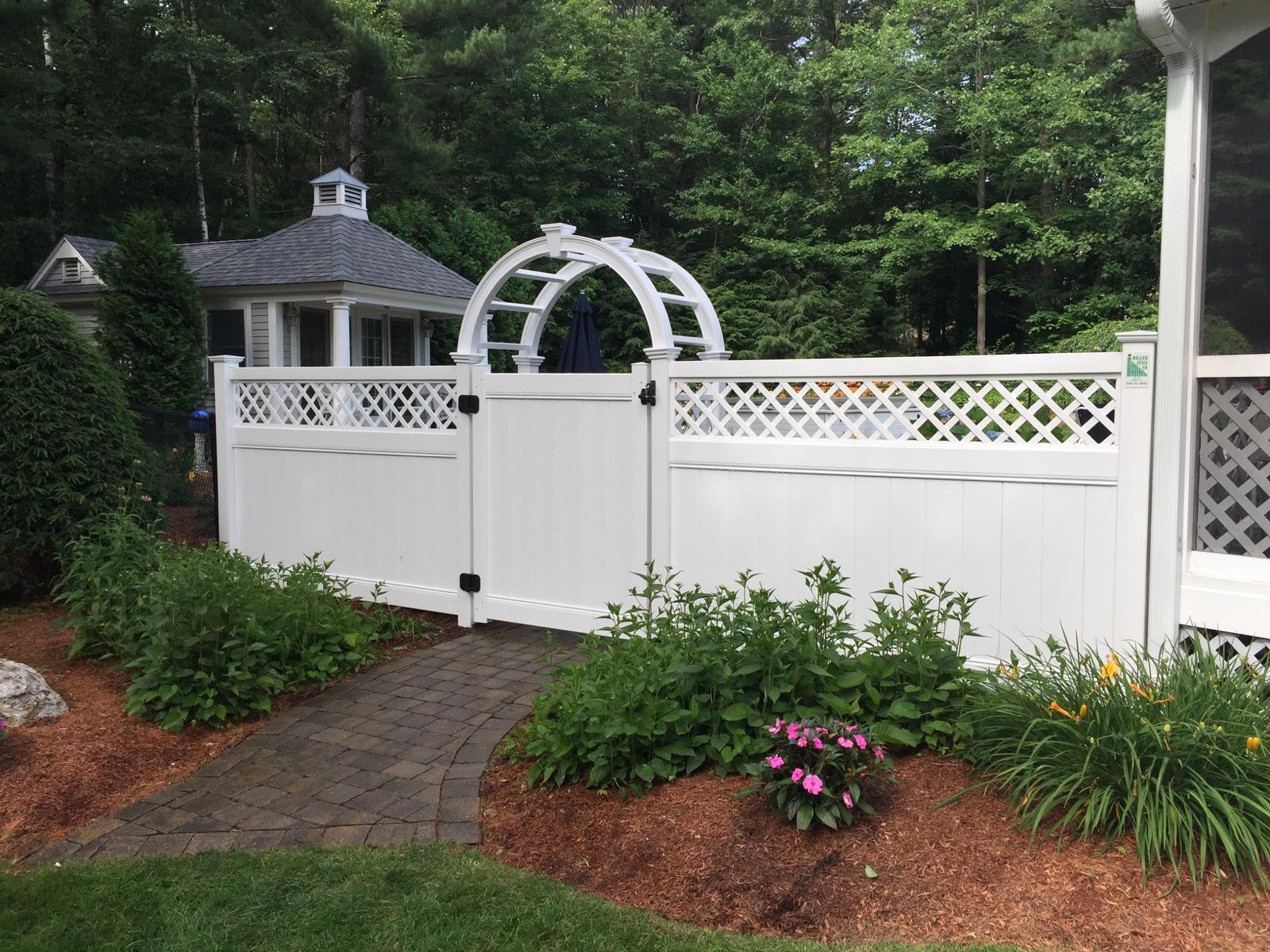 vinyl privacy fence with lattice shrewsbury miller fence
