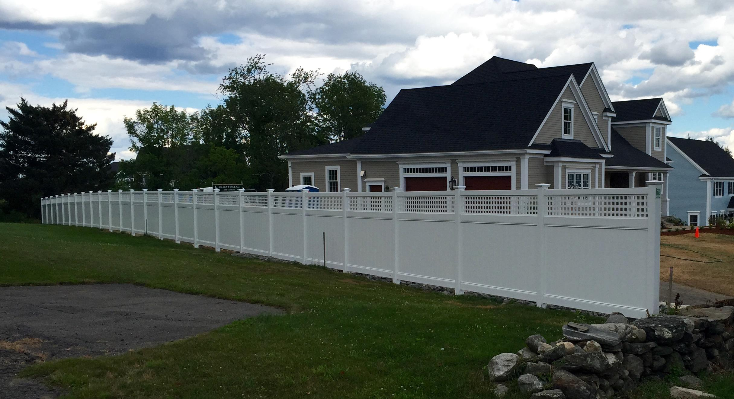Miller fence projects archives miller fence chesterfield with westminster square lattice accent vinyl privacy fence installation in shrewsbury certainteeds vinyl privacy fence installation is baanklon Image collections